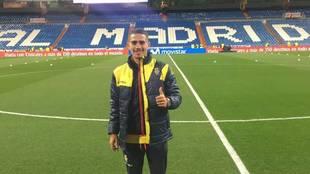 Yeremi Valerón, en el césped del Santiago Bernabéu cuando jugaba en...