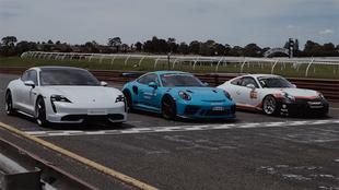 El Taycan se mide al 911 GT3 RS y al 911 GT3 Cup.