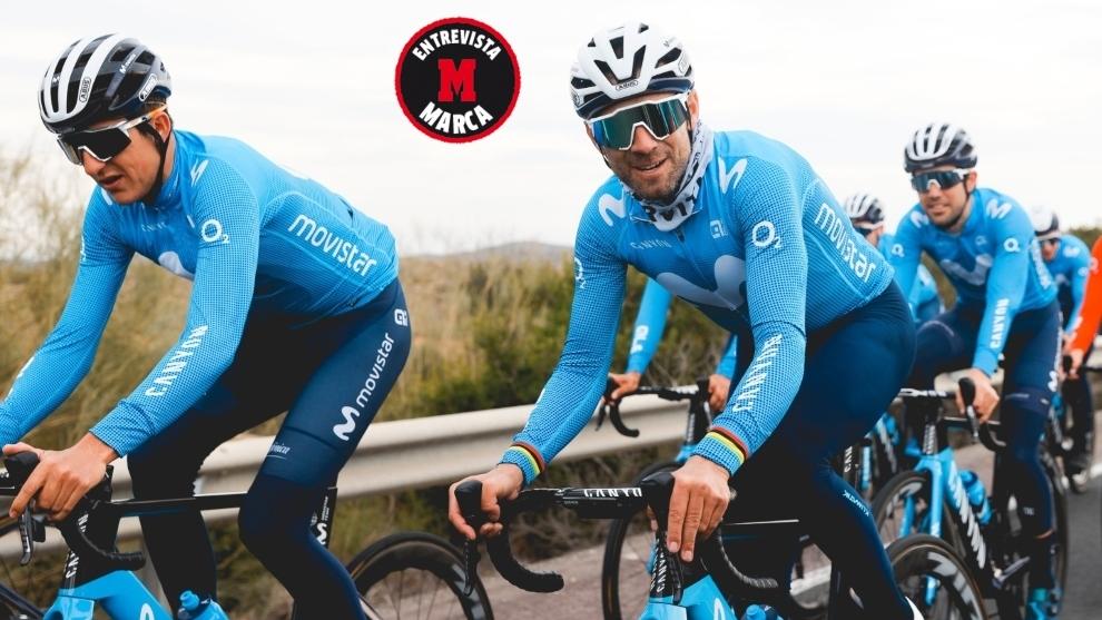 Alejandro Valverde (40) pedalea con sus compañeros durante la...