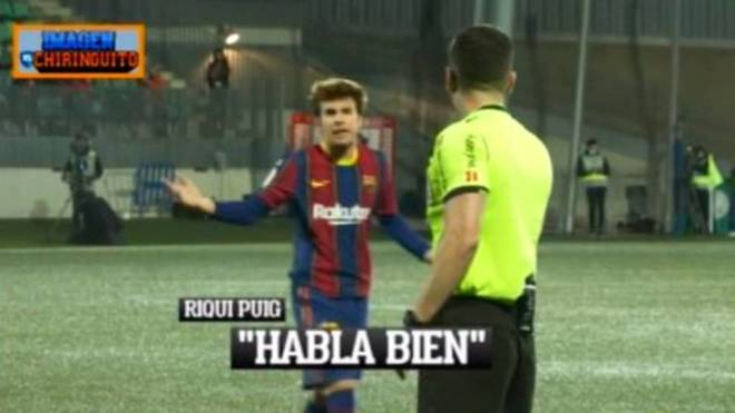 Riqui Puig's argument with the referee: Speak right and with respect