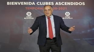 El presidente de LaLiga, Javier Tebas, durante un acto reciente.