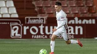Liberto Beltrán, en un partido con el Albacete.