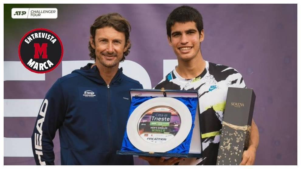 Ferrero al lado de su pupilo Carlos Alcaraz