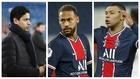 Un montaje fotográfico con Nasser al Khelaifi, Neymar y Mbappé