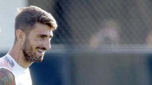 Piccini durante un entrenamiento con el Valencia.