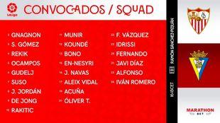 Lista de convocados del Sevilla para el partido frente al Cádiz