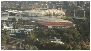 Una vista aérea de las pistas del Melbourne Park
