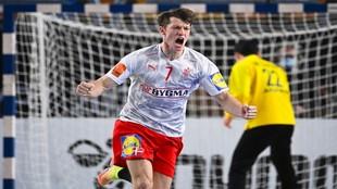 El danés Emil Nielsen celebra un gol ante Japón /