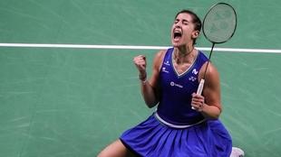 Carolina Marín celebra su segundo título consecutivo en Tailandia.