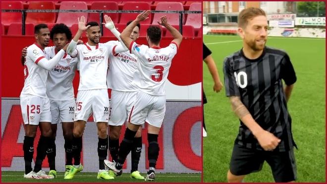 Los jugadores del Sevilla felicitan a En-Nesyri. El Papu Gómez,...
