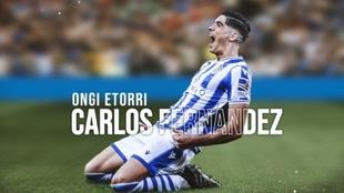 Carlos Fernández vistiendo los colores de la Real Sociedad en un...