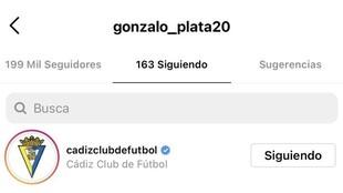 Imagen del Instagram de Gonzalo Plata, siguiendo al Cádiz.