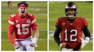 Patrick Mahomes y Tom Brady se verán las caras en el Super Bowl LV.