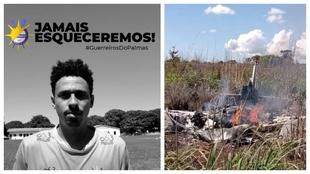 A la izquierda, Lucas Praxedes. A la derecha, la imagen del accidente.