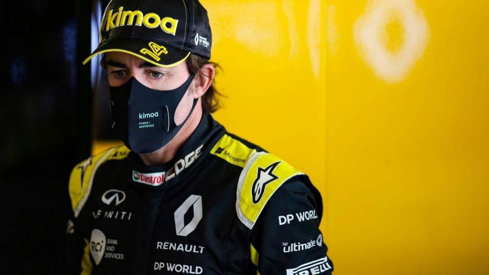 Fernando Alonso, en su test de Abu Dabi con Renault F1.