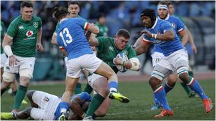 El partido de Italia ante Irlanda, en el Olímpico de Roma, durante el...
