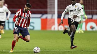Carrasco durante el partido frente al Valencia.