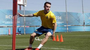 Álex López, durante un entrenamiento con el Espanyol