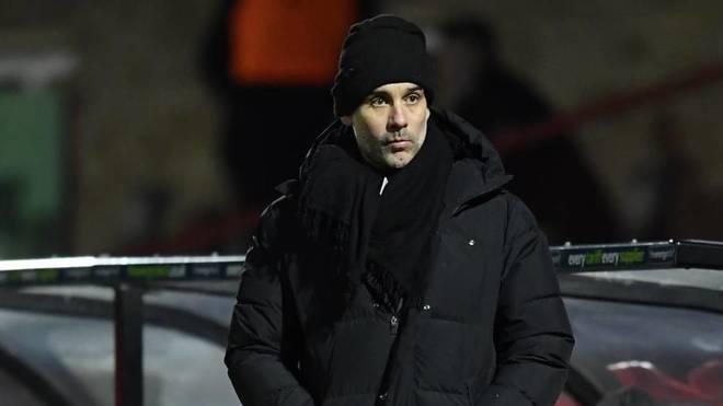 Guardiola, en el partido ante el Cheltenham Town.