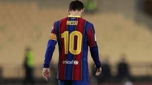 Messi, durante un partido con el Barcelona.