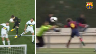 Riqui Puig ya marcaba goles de cabeza en La Masía... ¡y con el '9' a la espalda!