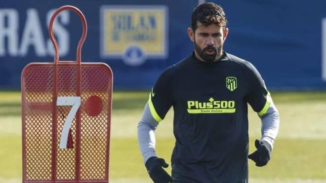 Diego Costa, en un entrenamiento con el Atlético.
