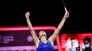 Carolina Marín celebra su victoria en el segundo Abierto de...
