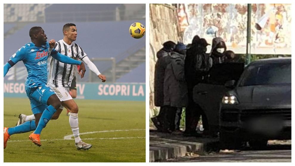 A la izquierda, Koulibaly forcejea con Cristiano Ronaldo. A la...