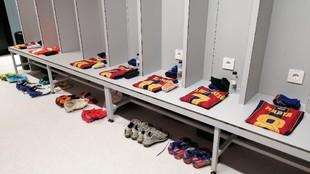 Vestuario del Barcelona en la previa de un partido esta temporada.