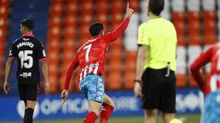 Christian Herrera celebra su gol al Tenerife, el que abría el camino...