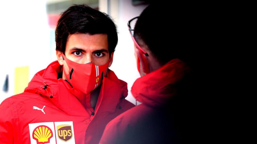 Carlos Sainz, en la pista de Fiorano, en la víspera de su debut con...