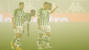Canales, celebrando su gol en la niebla