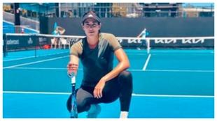Garbiñe, en un entrenamiento en Melbourne