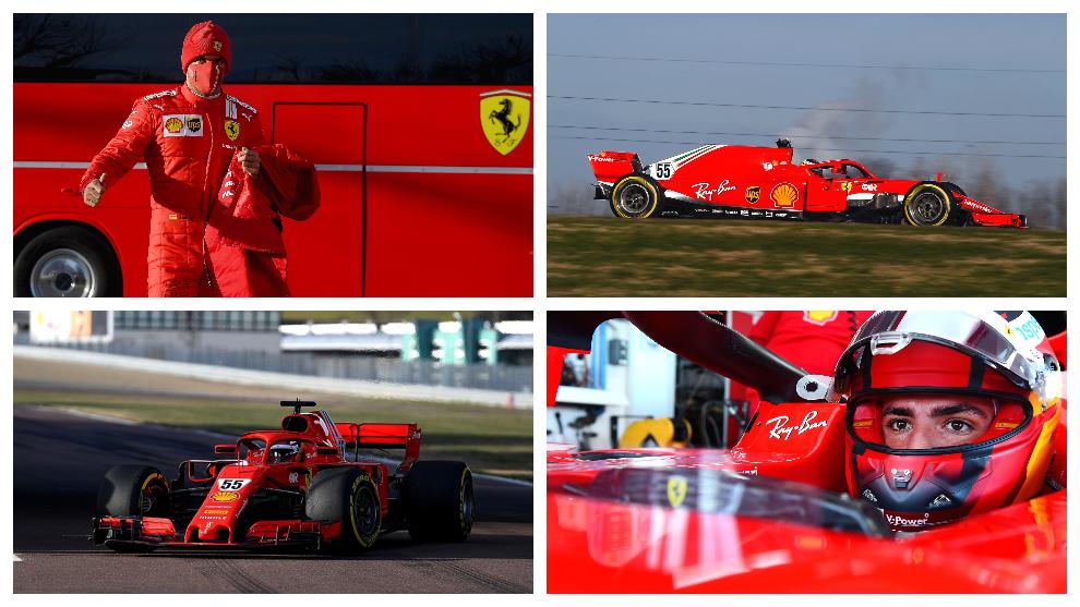 Carlos, rodando con el Ferrari SF71-H en Fiorano.