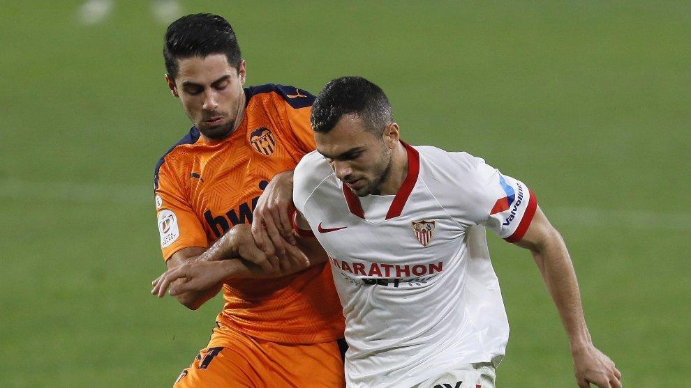 Rubén Sobrino, durante el partido contra el Sevilla.