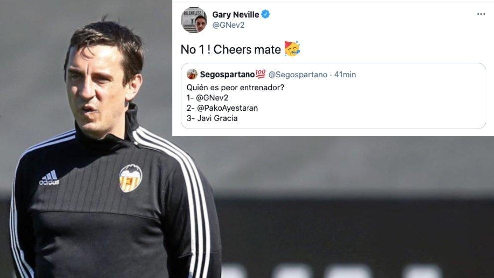 Gary Neville se vota como peor entrenador que Javi Gracia y Ayestarán en el Valencia