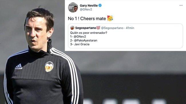 Gary Neville se vota... ¡como peor entrenador del Valencia!