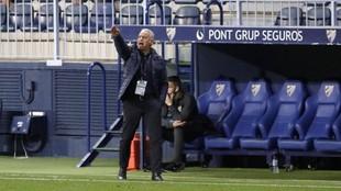 Pellicer da una indicación durante un partido del Málaga.