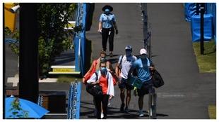 Un grupo de tenistas, en las instalaciones del Melbourne Park