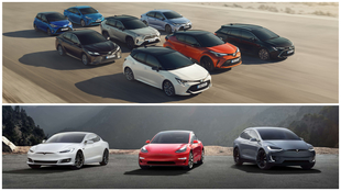 La gama Toyota Hybrid frente a los modelos eléctricos de Tesla.