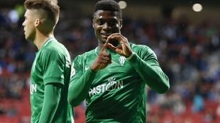 Neftali celebra un gol con el Sporting