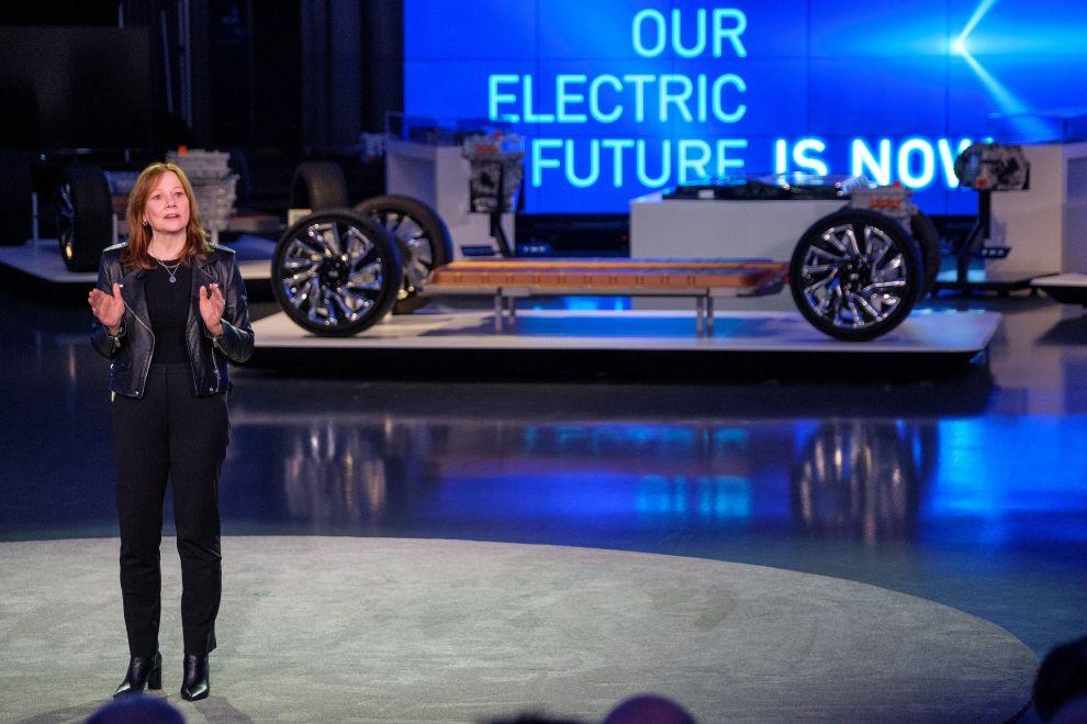 Mary Barra, en el anuncio del plan de electrificación de GM.