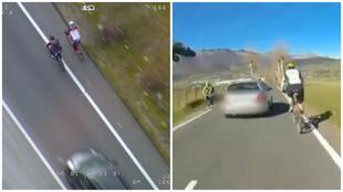 A la izquierda, dos ciclistas circulan en paralelo; a la derecha, un...