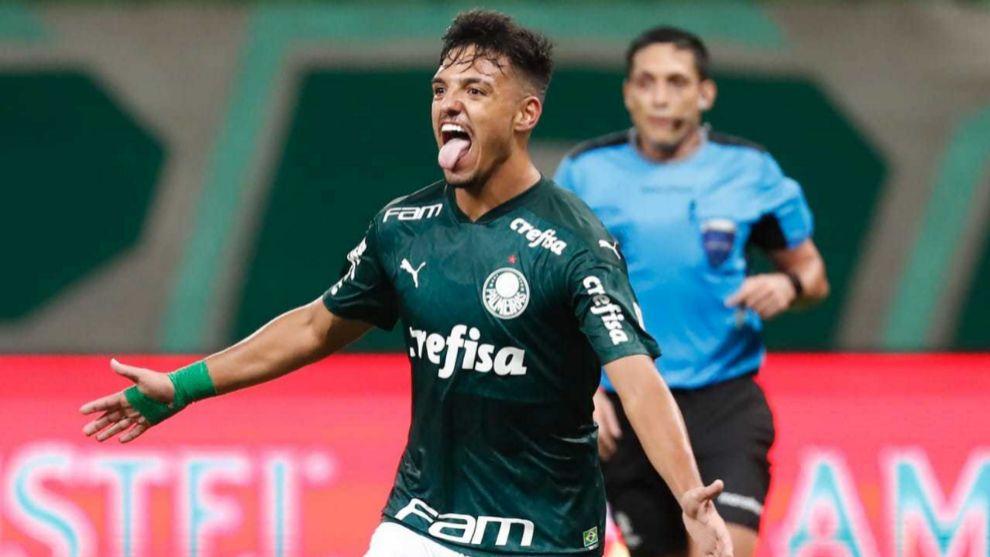 Menino celebra un gol con el Palmeiras en la Copa.