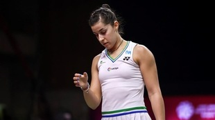 Carolina Marín, tras caer en la final de las World Tour Finals.