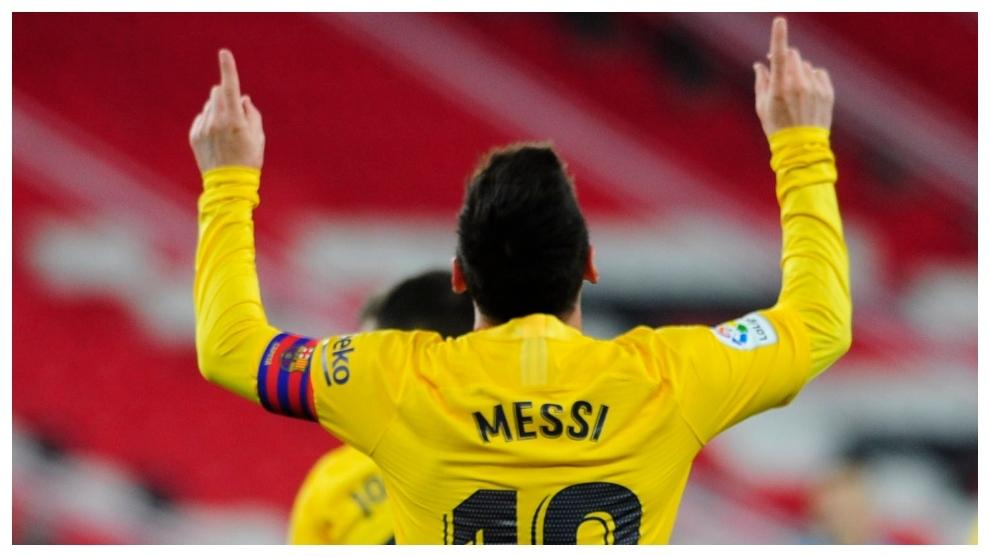 Messi celebrates a goal