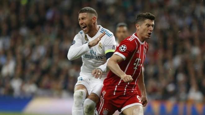 Sergio Ramos in a match against Bayern Munich
