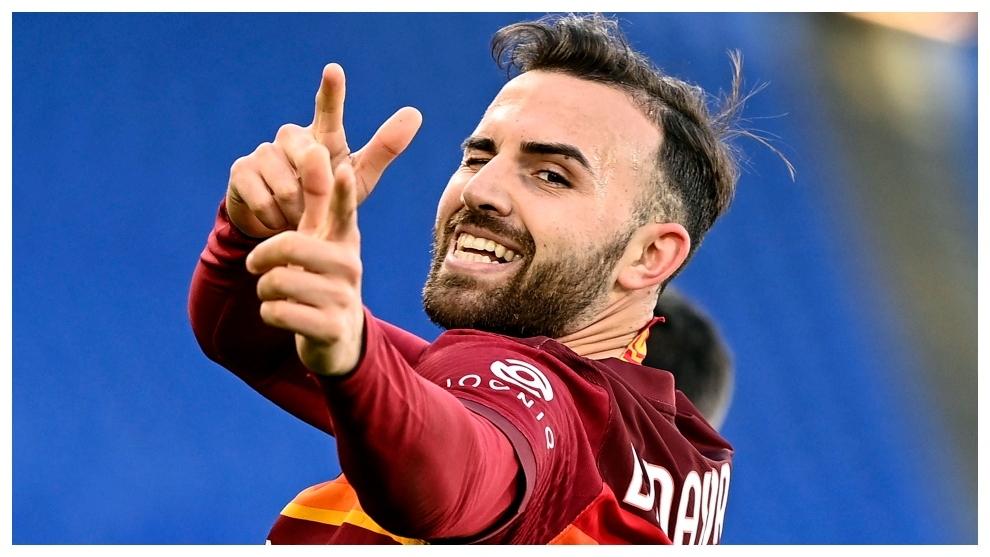 Borja Mayoral celebra su gol contra el Hellas Verona.
