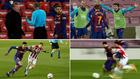 Koeman, Alba, Griezmann, Araujo y Messi en el partido contra el...