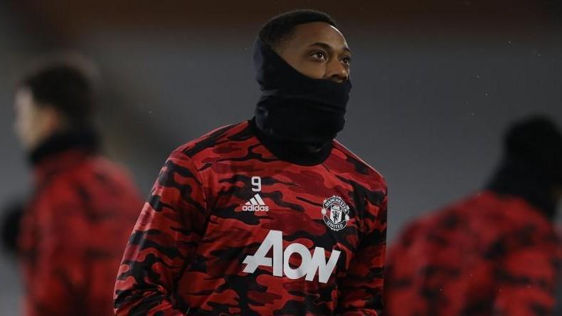 Martial, en un calentamientos antes de un partido del Manchester...